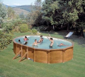 Pool / Stahlwandpool Set myPool Feeling Holzoptik oval 730x375x120cm Bild 1