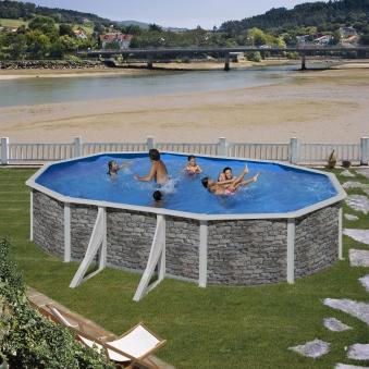 Pool / Stahlwandpool Set myPool Feeling Steinoptik oval 730x375x120cm Bild 1