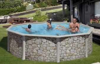Pool / Stahlwandpool Set myPool Feeling Steinoptik rund Ø 460x120cm Bild 1
