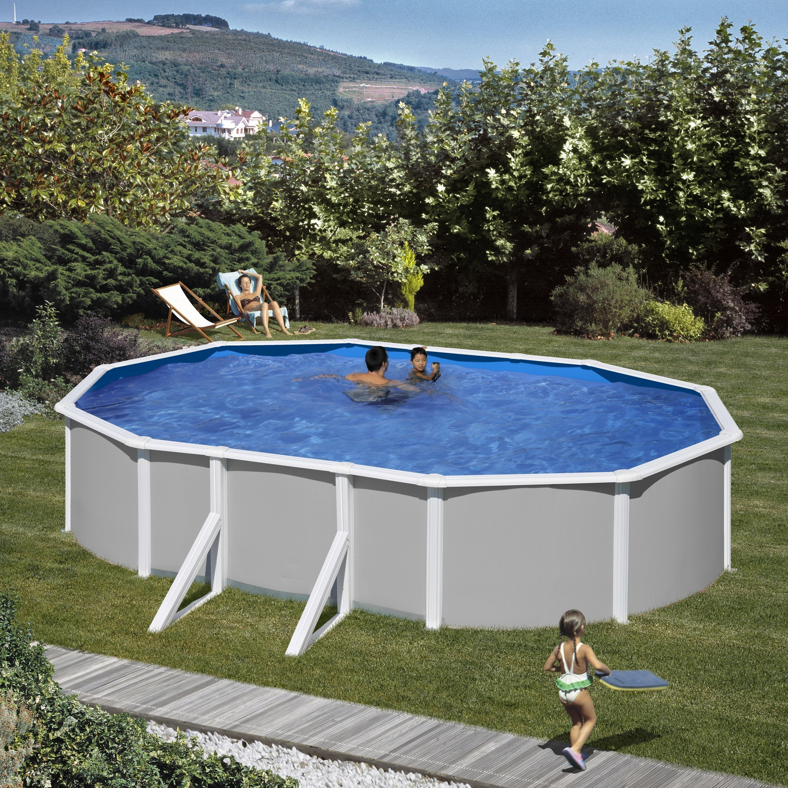 Pool / Stahlwandpool Set myPool Feeling grau Ovalbecken 730x375x120cm Bild 1