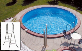 Pool / Stahlwandpool myPool Premium Hochbeckenleiter Ø 350x120cm Bild 1