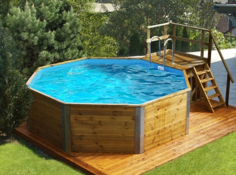 Massivholz-Schwimmbad Weka 593 B Gr.1 Sparset 476x376 Ø 397cm Bild 1