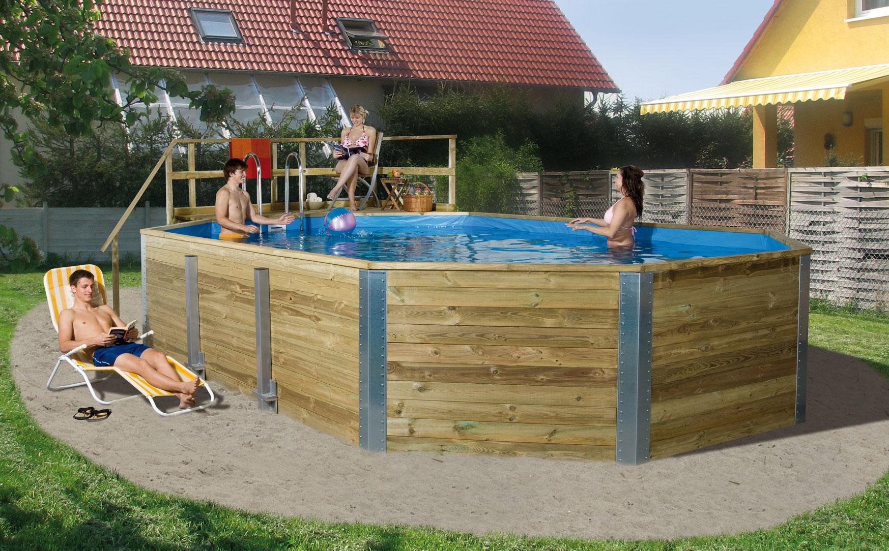 Massivholz Schwimmbad Weka 594 Gr. 2 Sparset 850x376cm Bild 1
