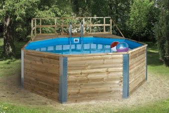 Massivholz-Schwimmbad Weka 593B Gr. 2 571x471cm Ø 500cm Bild 1