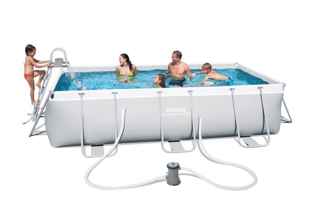 bestway pool frame pool power steel set grau. Black Bedroom Furniture Sets. Home Design Ideas