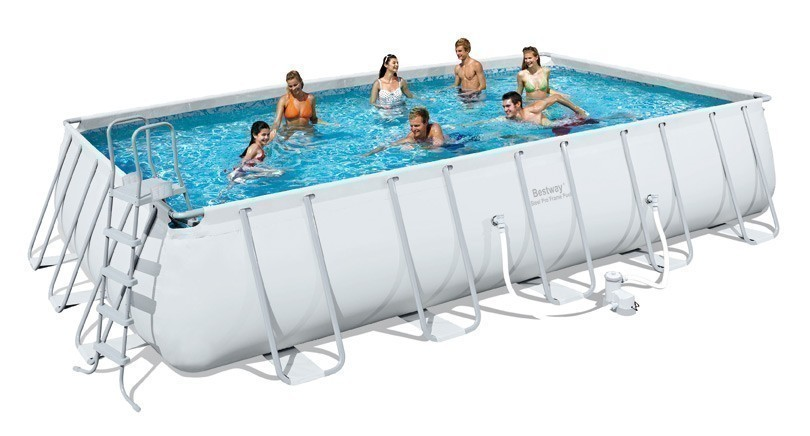 Schwimmbecken bestway rectangular frame pool set eckig for Pool stahlwand eckig