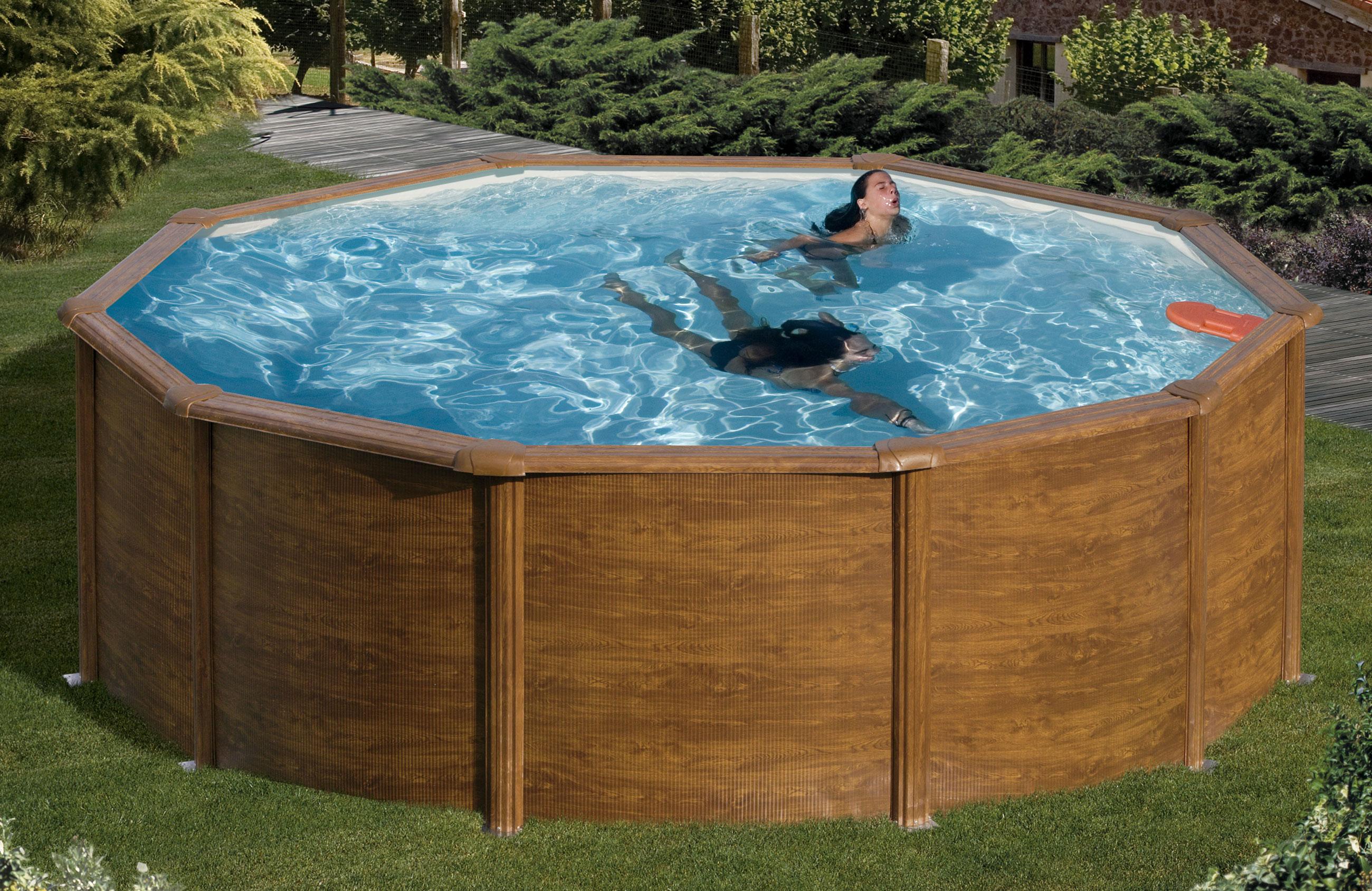 Pool schwimmbecken feeling holzoptik rund mit sandfilter for Pool holzoptik metall