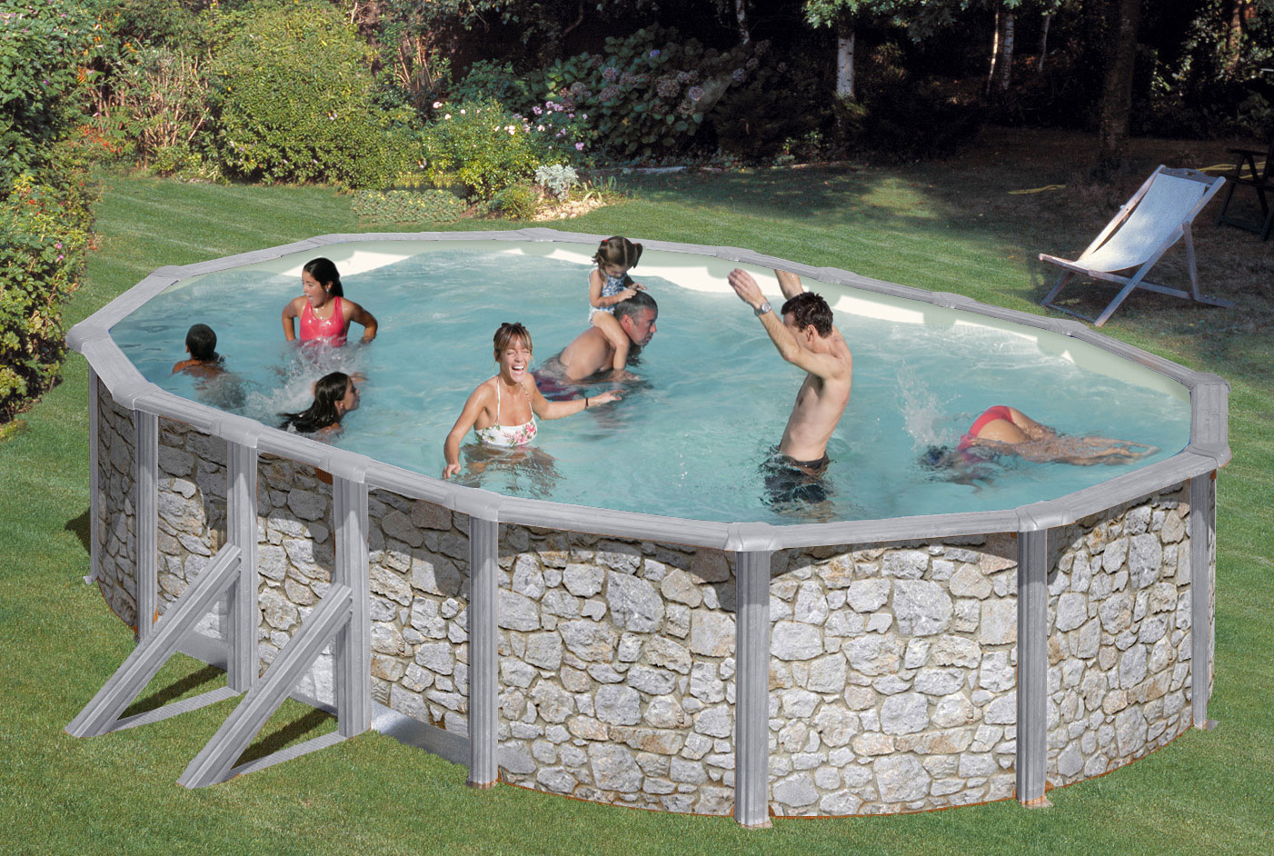pool schwimmbecken feeling steinoptik oval sandfilter 6 1x3 75x1 20m bei. Black Bedroom Furniture Sets. Home Design Ideas
