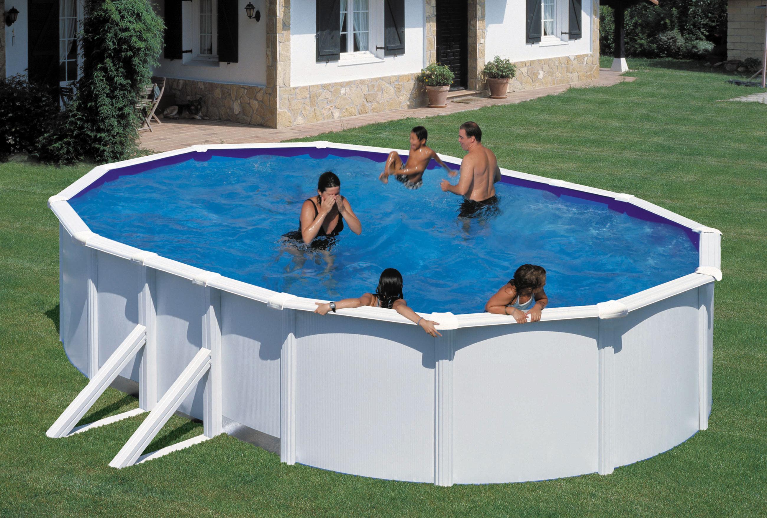 pool schwimmbecken feeling wei oval mit sandfilter. Black Bedroom Furniture Sets. Home Design Ideas