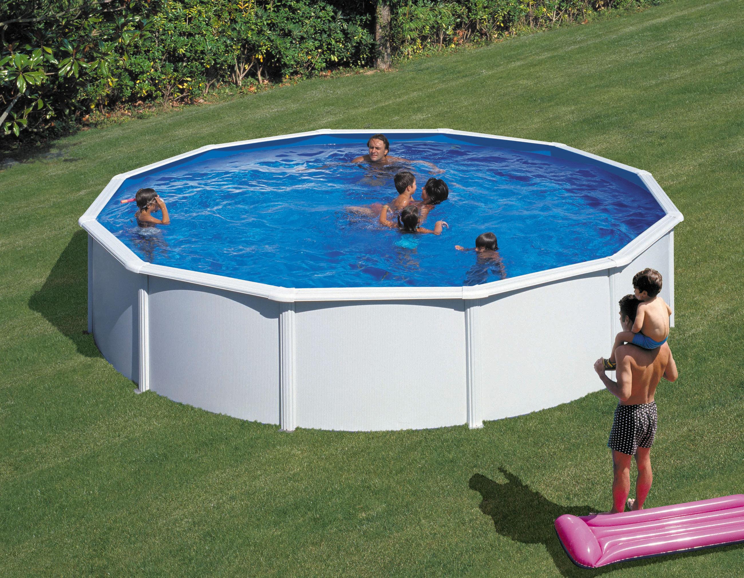 Pool schwimmbecken feeling wei rund mit sandfilter 3 5x1 20m bei - Pool mit sandfilter ...