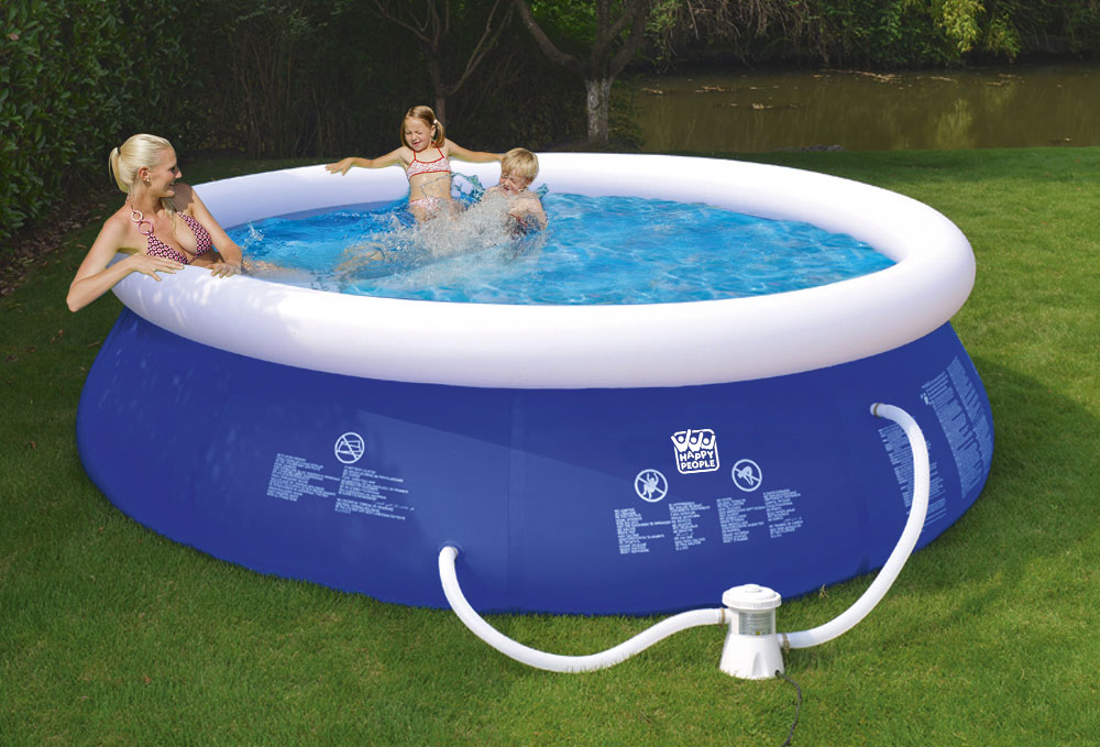 Schwimmbecken Happy People Quick Up Pool Set mit Filterpumpe Ø300x76cm Bild 1