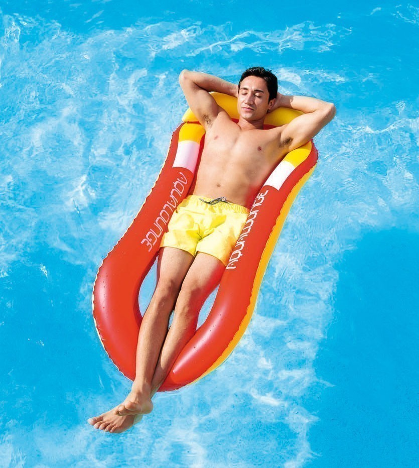 Luftmatratze Wasserhängematte Bestway Aqua Lounge blau/orange 160x84cm Bild 2