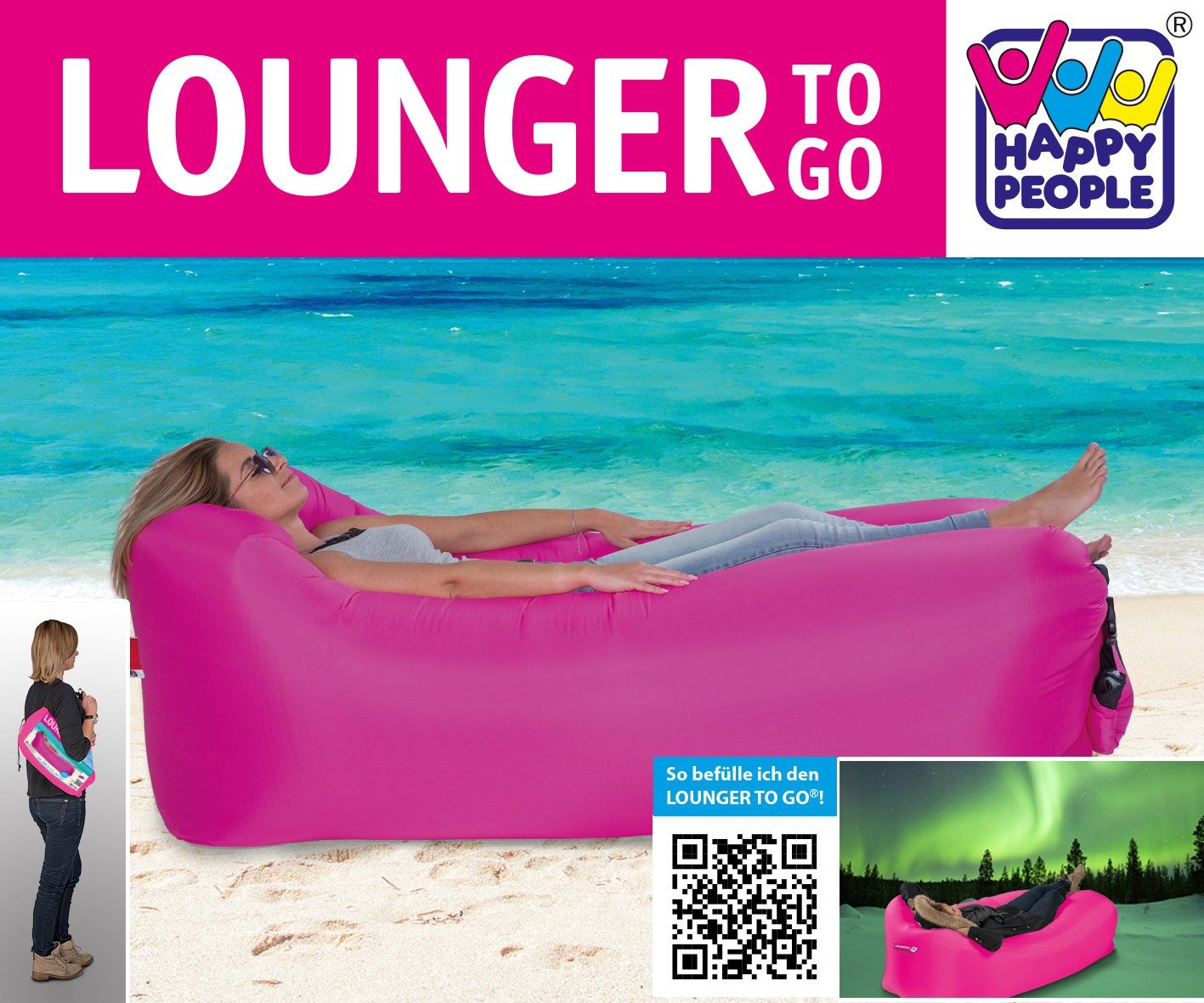 Luftsofa / Luftliege Lounger To Go 240x70cm pink Happy People 78093 Bild 2