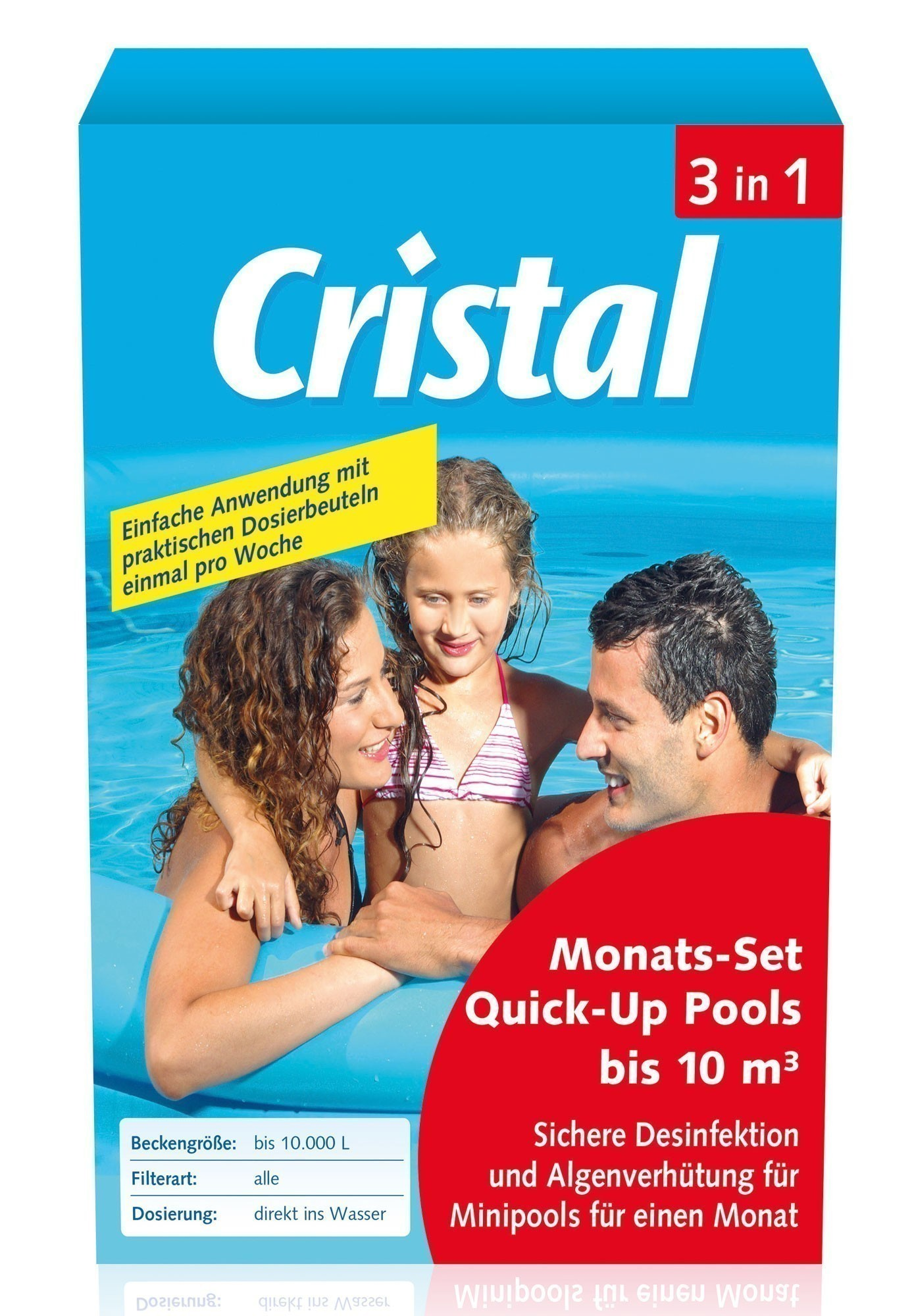 Cristal Wasserpflege Komplett Monats-Set 3in1 Quick-Up Pool 10m³ 600g Bild 1