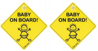 Hinweisschild / Autoschild Baby on Board 2er Set Bild 1
