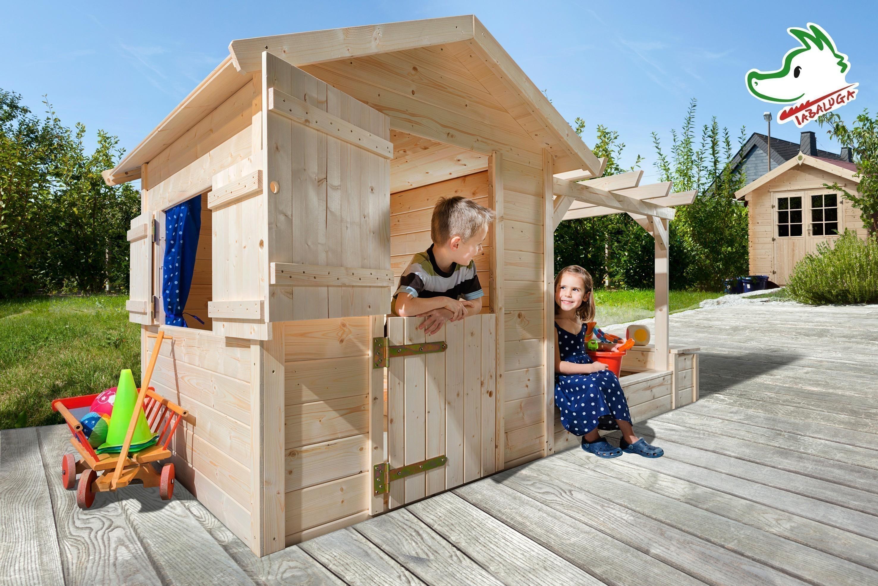 kinderspielhaus tabaluga spielplatz mit sandkasten pergola 286x153cm bei. Black Bedroom Furniture Sets. Home Design Ideas