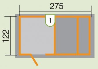 Kinderspielhaus Tabaluga Spielplatz mit Sandkasten + Pergola 286x153cm Bild 2