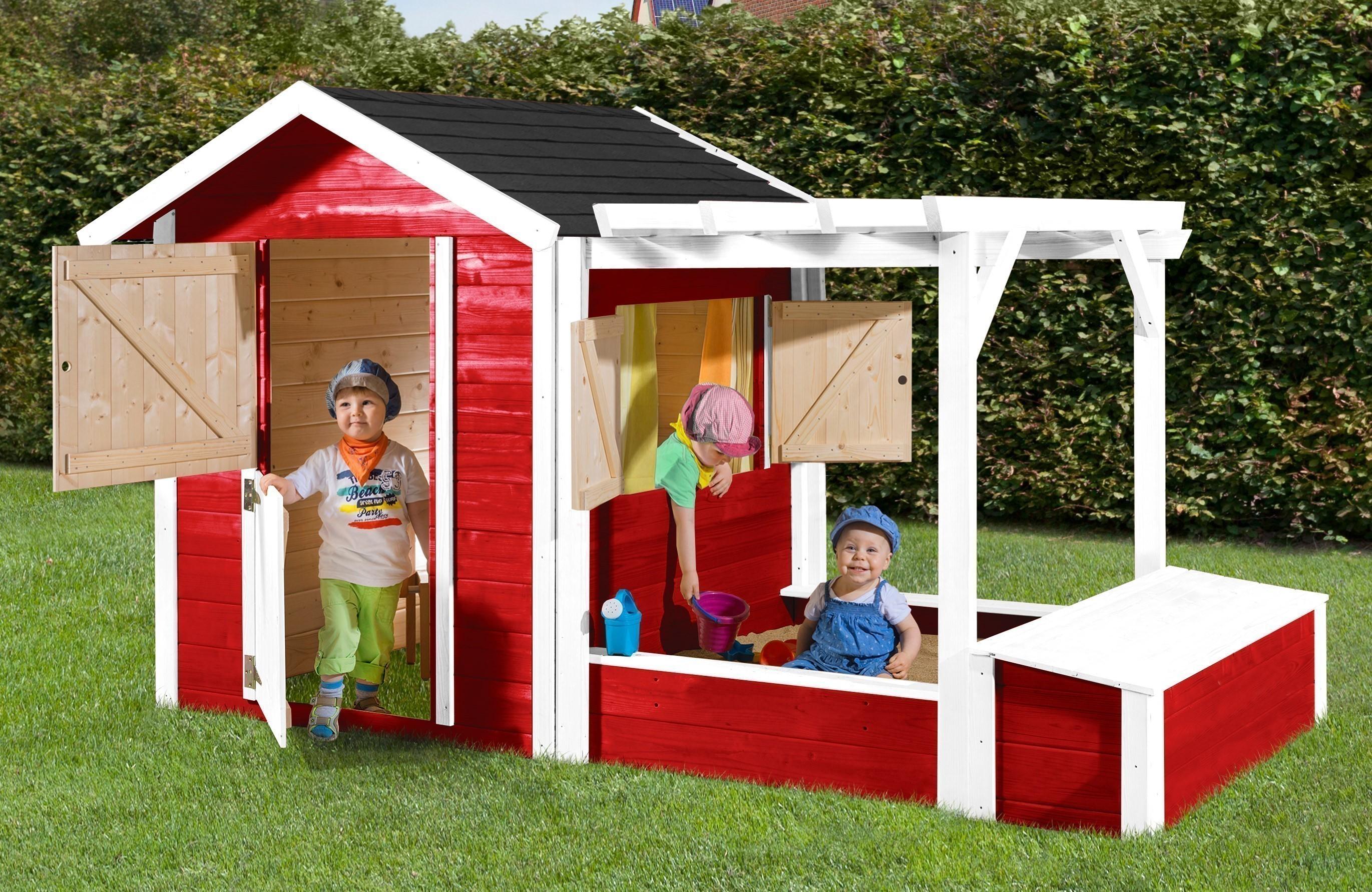 weka kinderspielhaus set mit sandkasten philipp rot wei 284x153cm bei. Black Bedroom Furniture Sets. Home Design Ideas