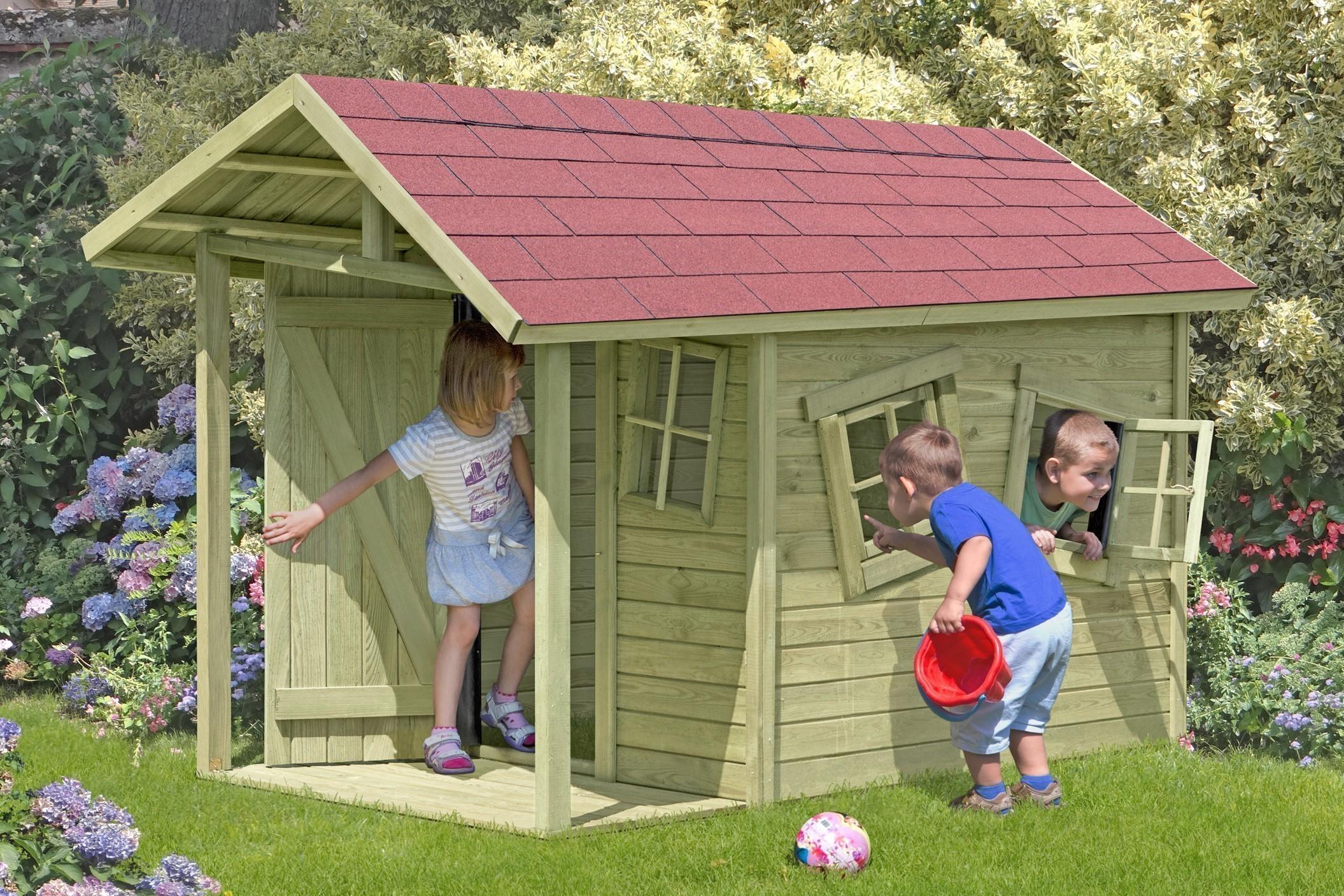 Spielhaus / Kinderspielhaus CRAZY Andy mit Terrasse 150x240x160cm Bild 1