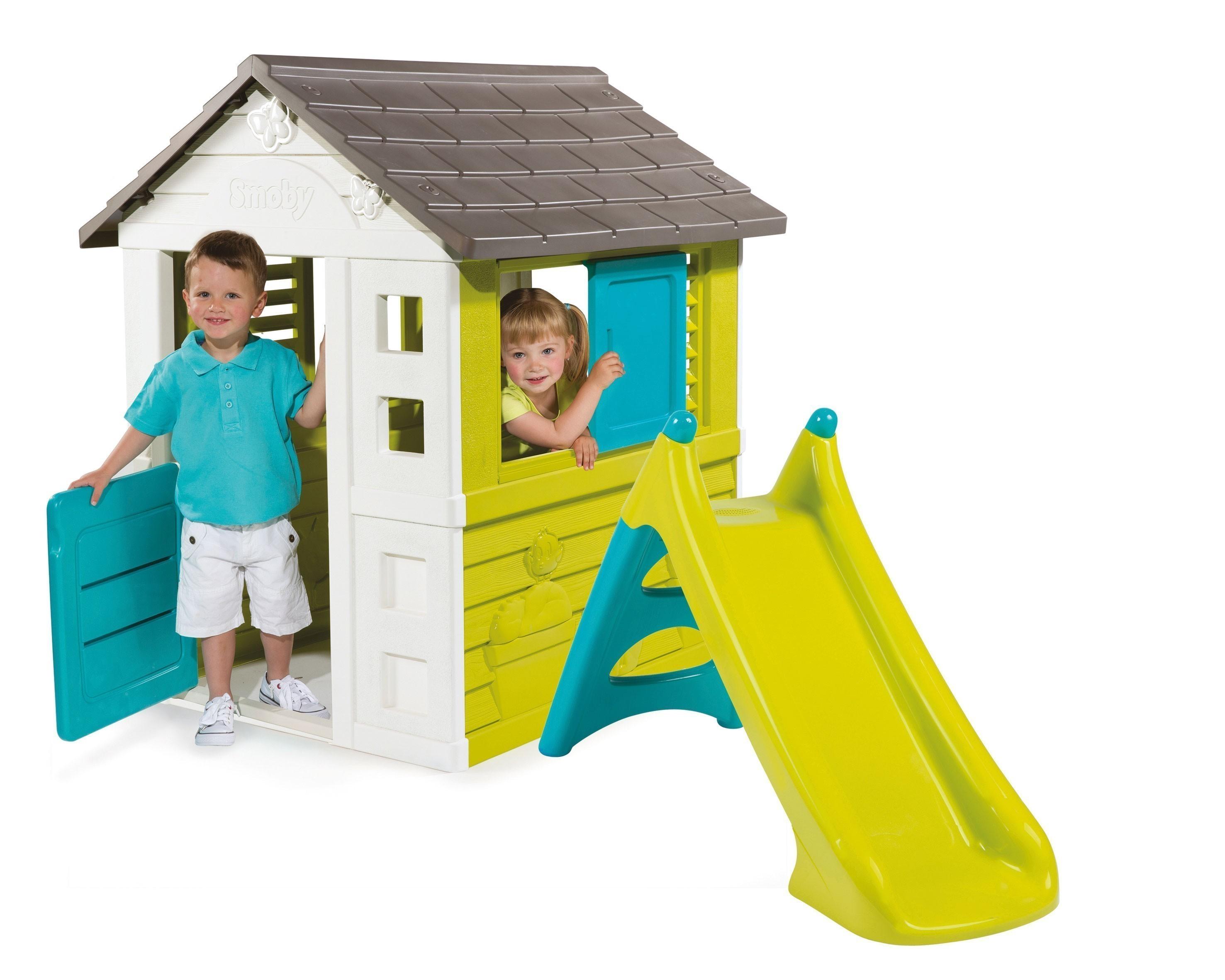 spielhaus kinderspielhaus pretty smoby mit xs rutsche bei. Black Bedroom Furniture Sets. Home Design Ideas