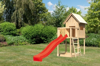 Spielhaus / Spielturm Karibu Akubi Frieda Set A Anbau +Rutsche rot Bild 1
