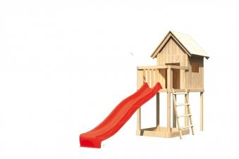 Spielhaus / Spielturm Karibu Akubi Frieda Set A Anbau +Rutsche rot Bild 2