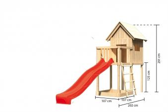 Spielhaus / Spielturm Karibu Akubi Frieda Set A Anbau +Rutsche rot Bild 3