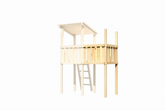 Spielhaus / Spielturm Karibu Akubi Frieda Set A Anbau +Rutsche rot Bild 5