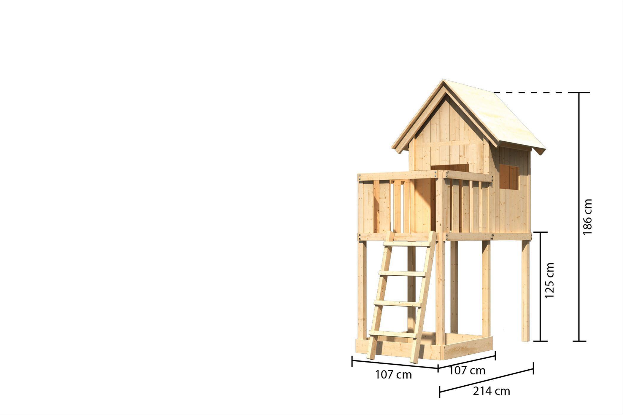 Spielhaus / Spielturm Karibu Akubi Frieda mit Anbau natur 214x214cm Bild 3