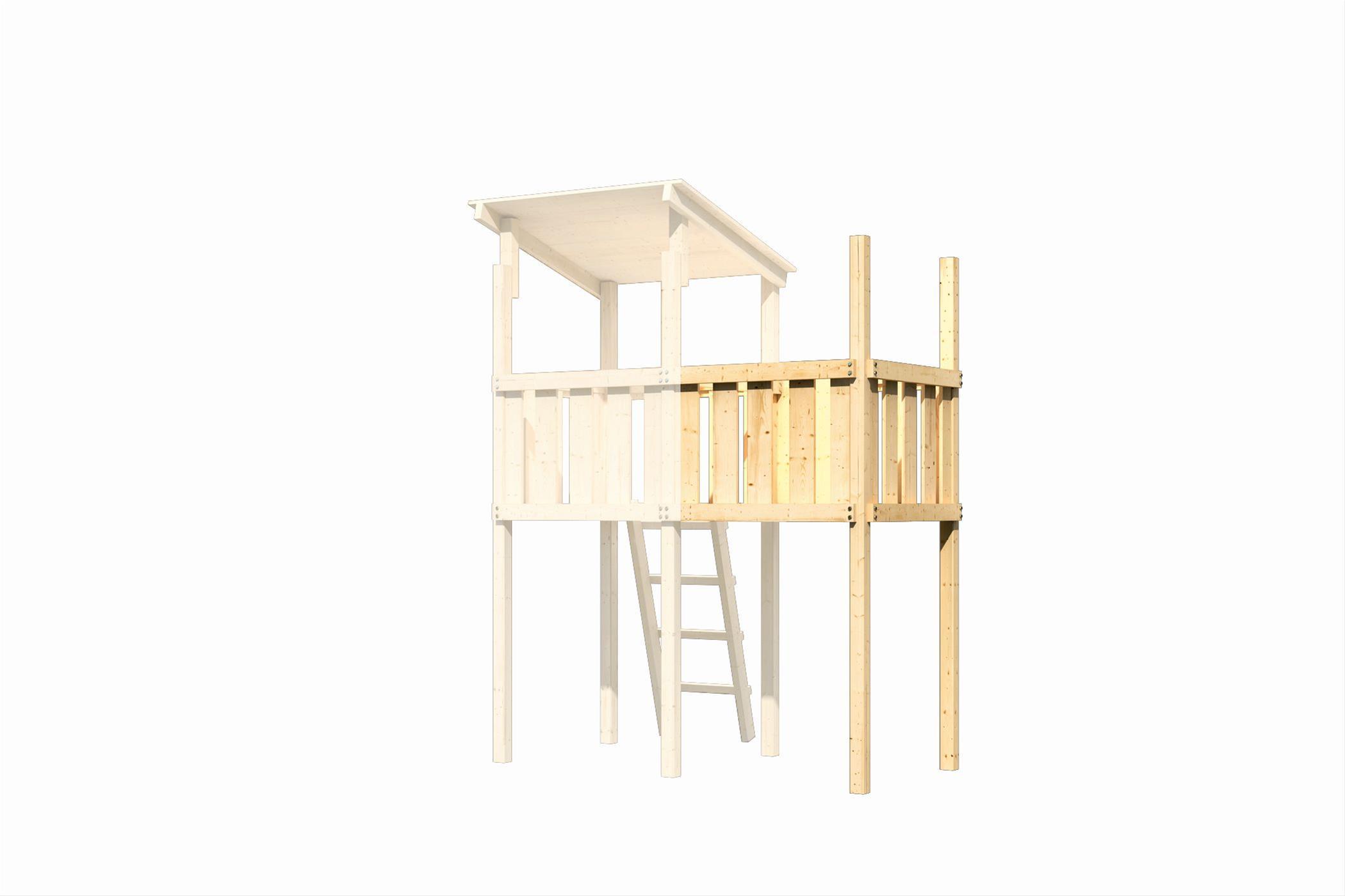 Spielhaus / Spielturm Karibu Akubi Frieda mit Anbau natur 214x214cm Bild 5