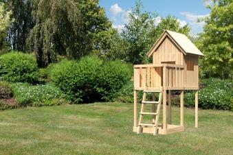 Spielhaus / Spielturm Karibu Akubi Frieda mit Anbau natur 214x214cm Bild 1