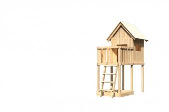 Spielhaus / Spielturm Karibu Akubi Frieda mit Anbau natur 214x214cm Bild 2
