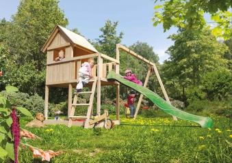 Spielhaus / Spielturm Karibu Akubi Frieda mit Anbau natur 214x214cm Bild 7