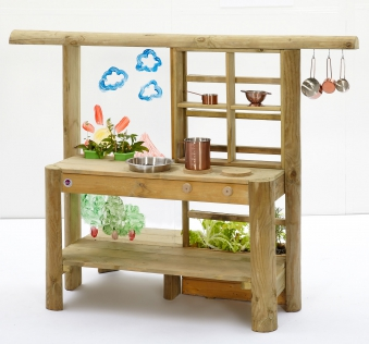 Spielküche Plum Discovery Küche / Gartenküche Holz 161x63x114cm Bild 1