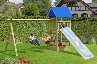 Spielanlage / Spielturm mit Doppelschaukel Junior 410x190x296 cm Bild 1