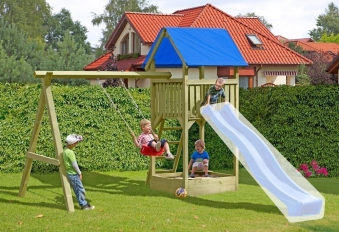 Spielanlage / Spielturm mit Schaukel und Sandkasten Noah 350x190x296cm Bild 1