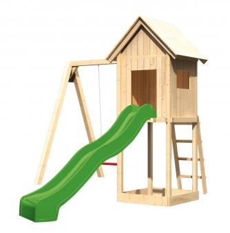 spielturm frieda set m karibu akubi natur mit einzelschaukel rutsche bei. Black Bedroom Furniture Sets. Home Design Ideas