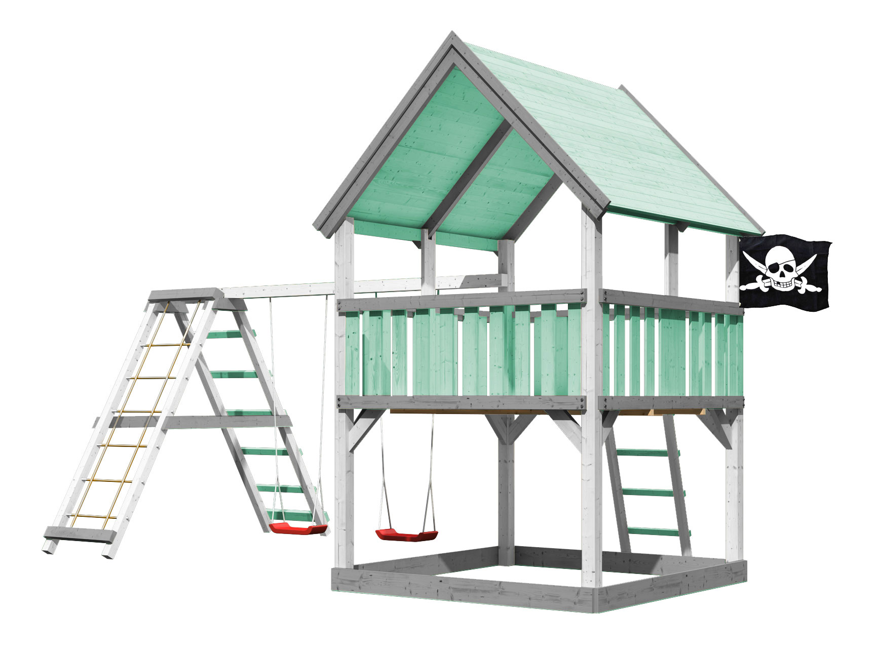 Spielturm Karibu Akubi Piraten-Festung + Doppelschaukel +Klettergerüst Bild 1