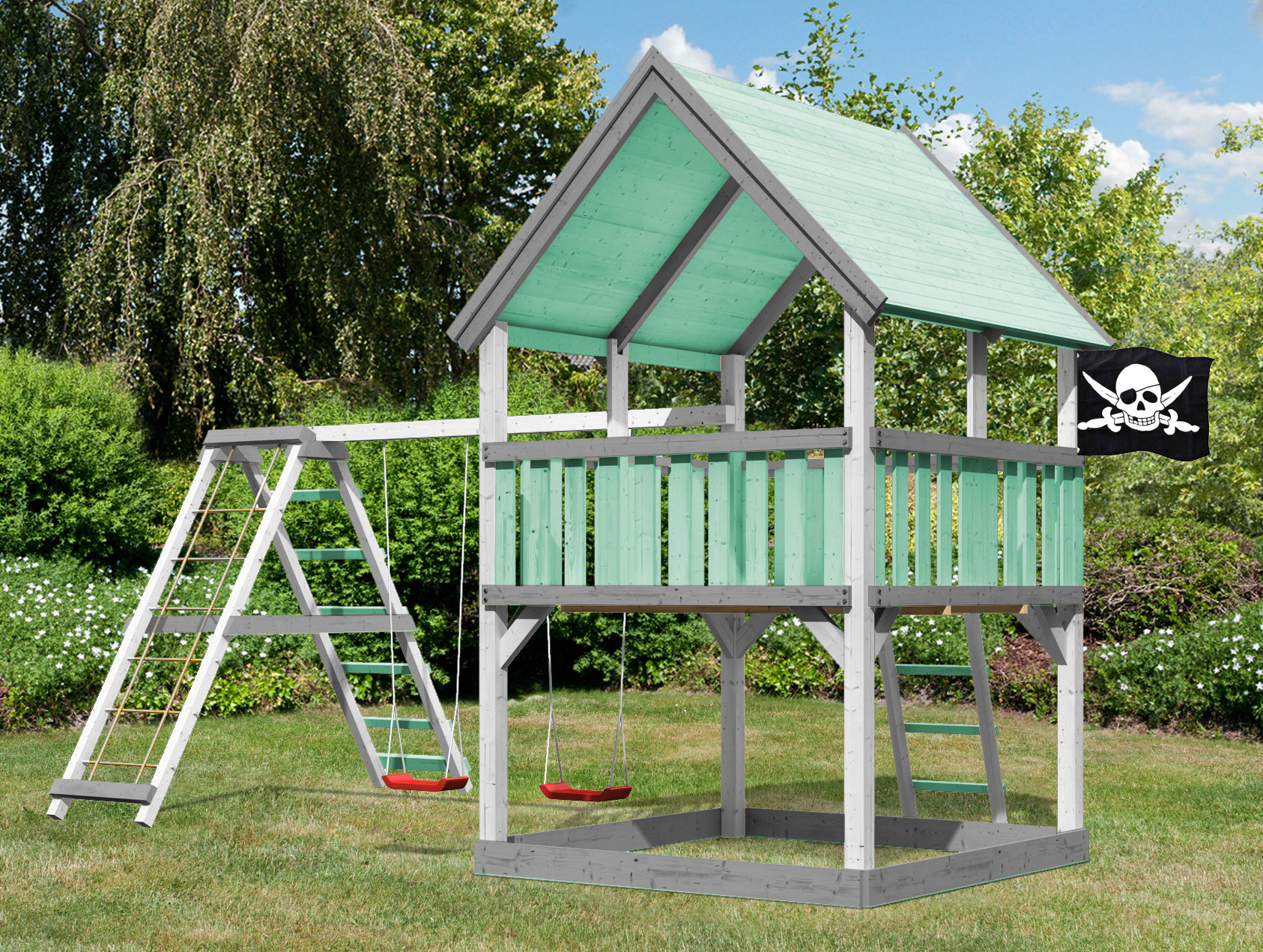 Klettergerüst Natur : Spielturm luis set farbe karibu akubi natur gerüst schaukel bei