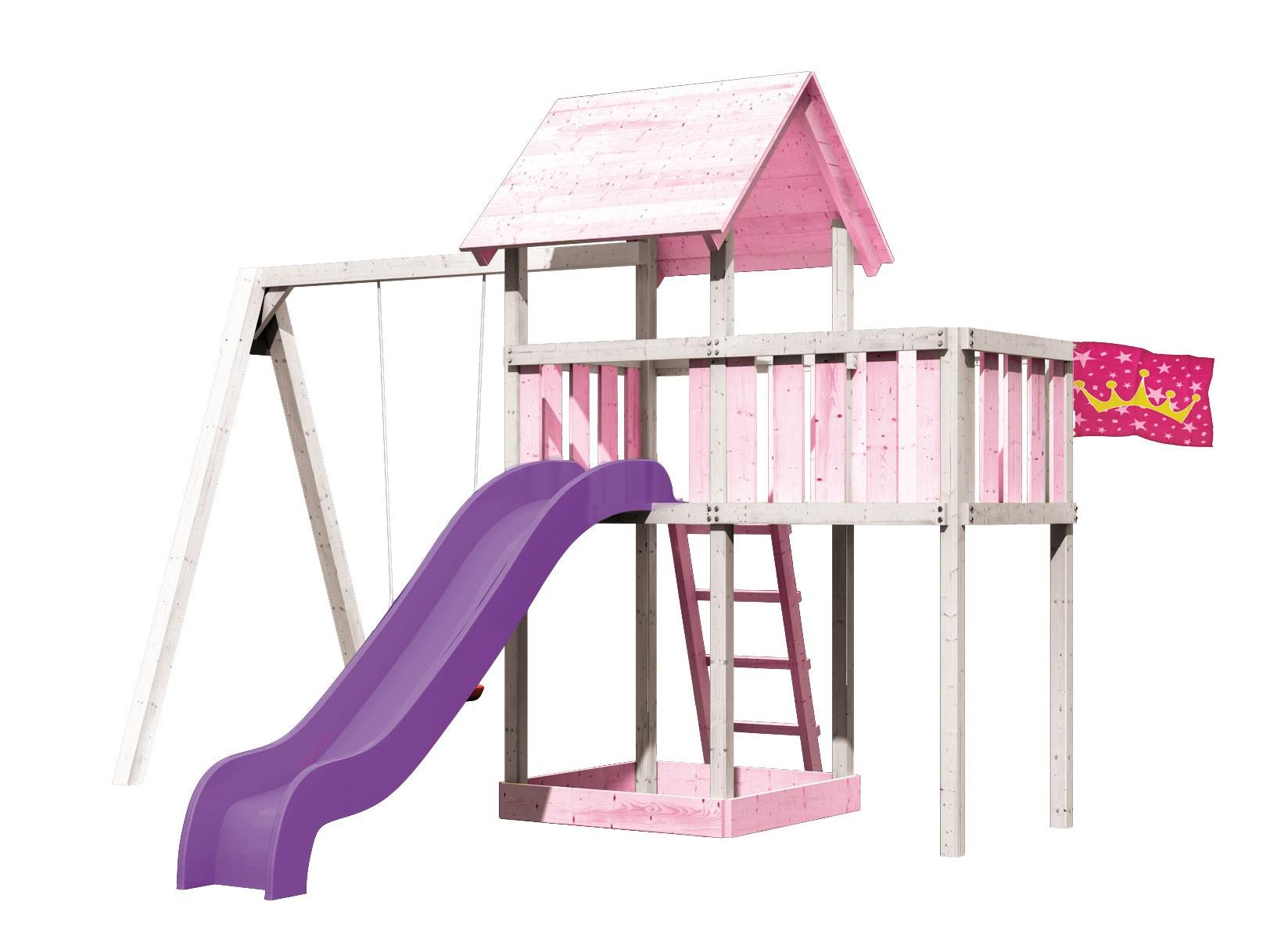 Bevorzugt Spielturm Lotti Set Farbe Karibu Akubi natur Anbau+Schaukel+ YX17