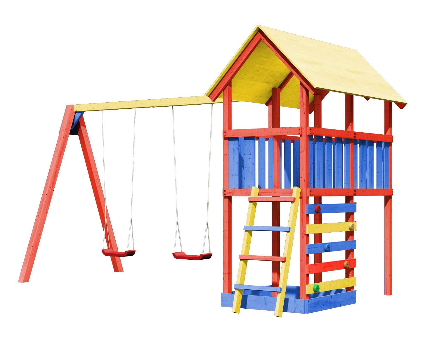 Spielturm Karibu Akubi Zirkusturm + Doppelschaukel + Kletterwand Bild 1