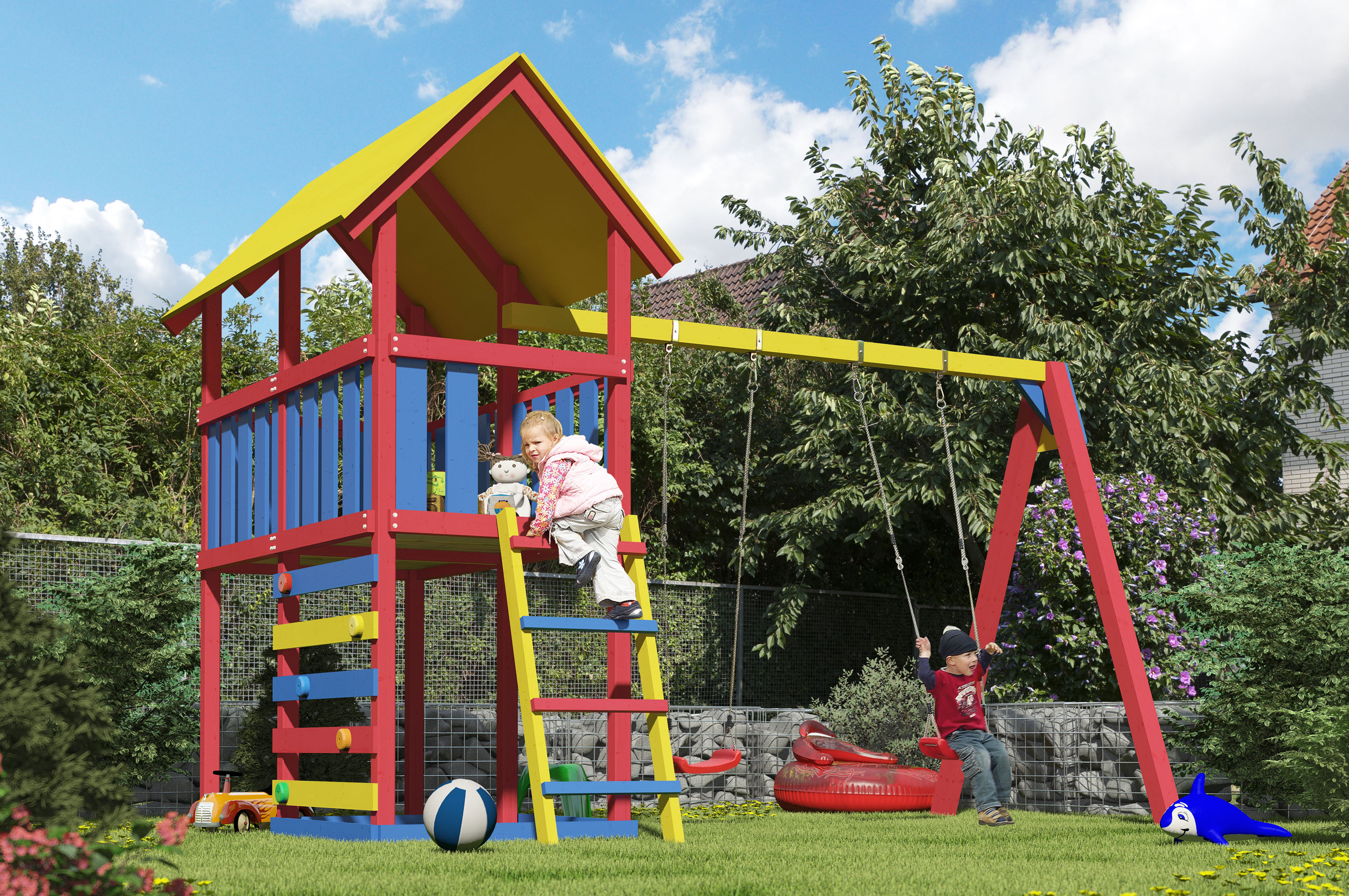 Spielturm Karibu Akubi Zirkusturm + Doppelschaukel + Kletterwand Bild 3