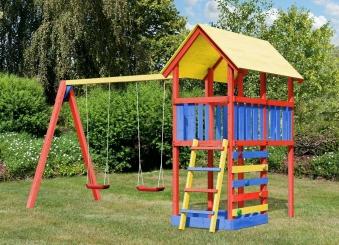 Spielturm Karibu Akubi Zirkusturm + Doppelschaukel + Kletterwand Bild 2