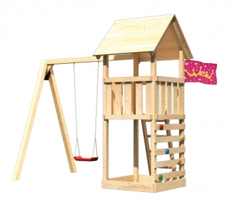 spielturm lotti set m karibu akubi natur mit schaukel kletterwand bei. Black Bedroom Furniture Sets. Home Design Ideas