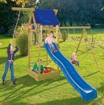 Spielturm Patrick mit Schaukel und Sandkasten Rundholz 440x190x290cm Bild 2
