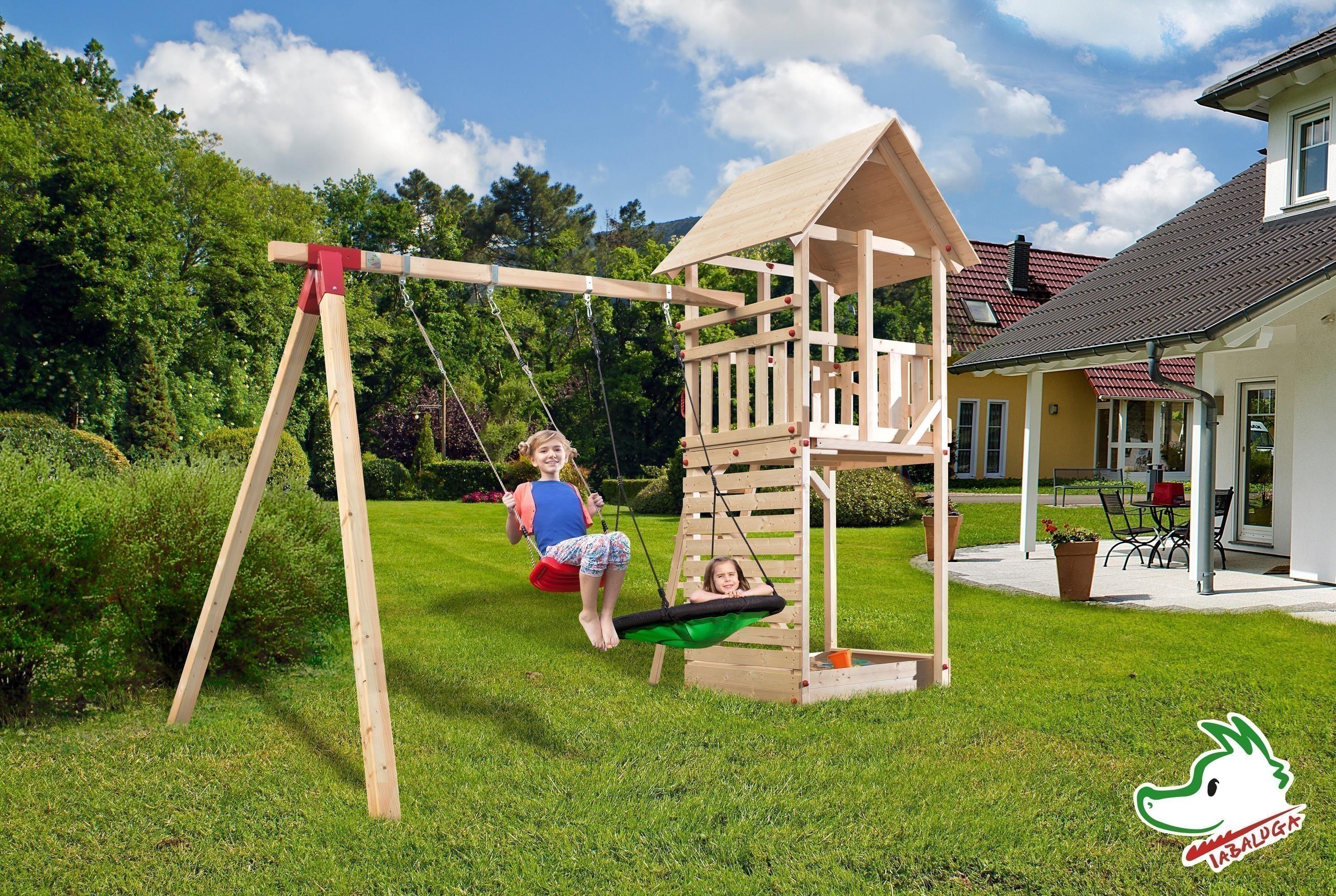 Spielturm Tabaluga Drachenturm Satteldach 100x124cm + Schaukel Bild 1