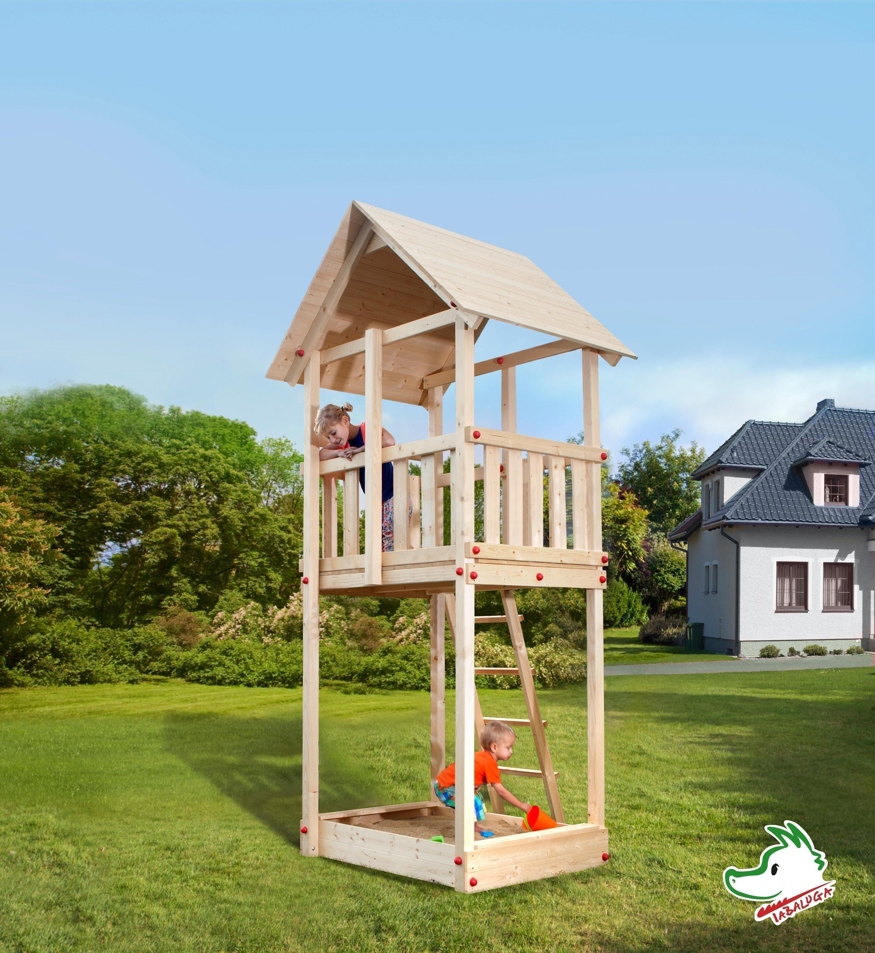 Spielturm Tabaluga Drachenturm mit Satteldach natur 100x124cm Bild 1