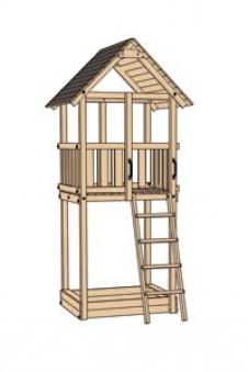 Spielturm Tabaluga Drachenturm natur 100x124cm mit Rutsche Bild 3