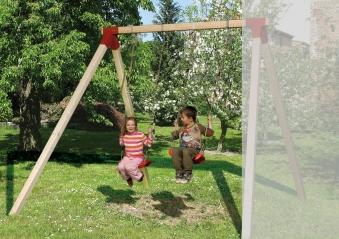 Schaukelanbau Kinderspielturm Weka mit 2 Schaukeln