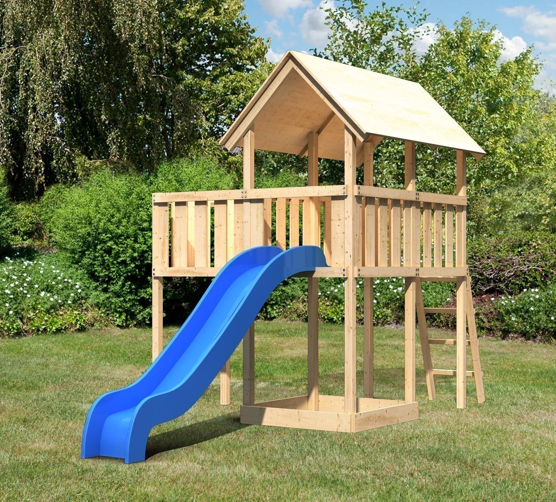 spielturm woodfeeling findus natur 107x202x291cm mit. Black Bedroom Furniture Sets. Home Design Ideas